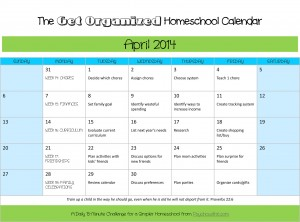 Get your home, family, and homeschool organized this month with this free printable calendar.