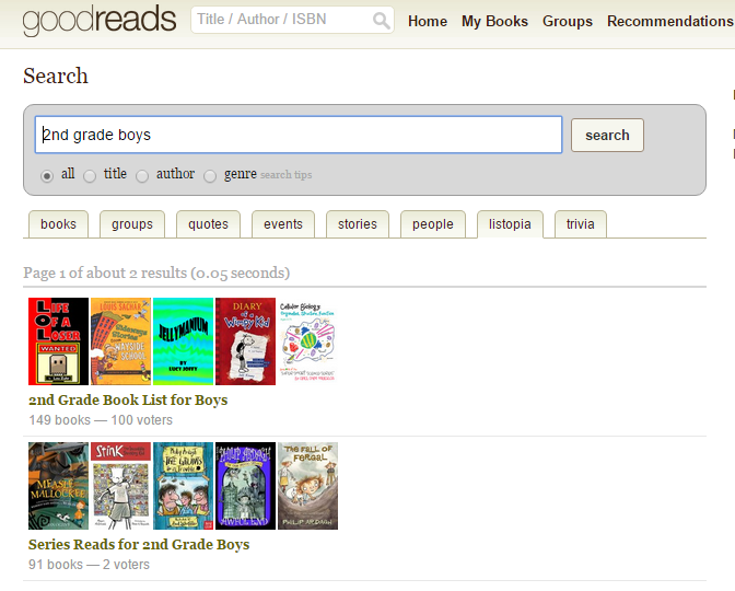 Find book titles your child will like with Goodreads