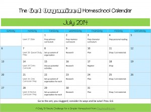 Daily missions to organize your homeschool July 2014