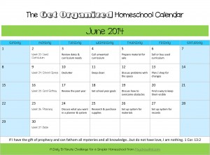 June 2014 Organized Homeschool Calendar