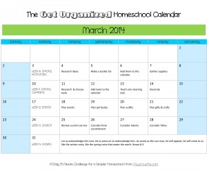 Organize your homeschool this spring with this free March printable calendar