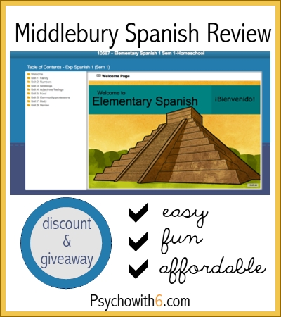 Middlebury Spanish Review: homeschool foreign language curriculum, discount, and giveaway!