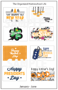 Monthly Holiday Stickers Jan-June