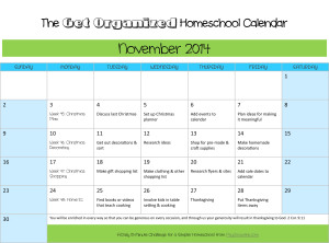 Get organized with the November 2014 homeschool calendar.
