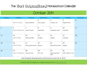 October 2014 Organized Homeschool Calendar