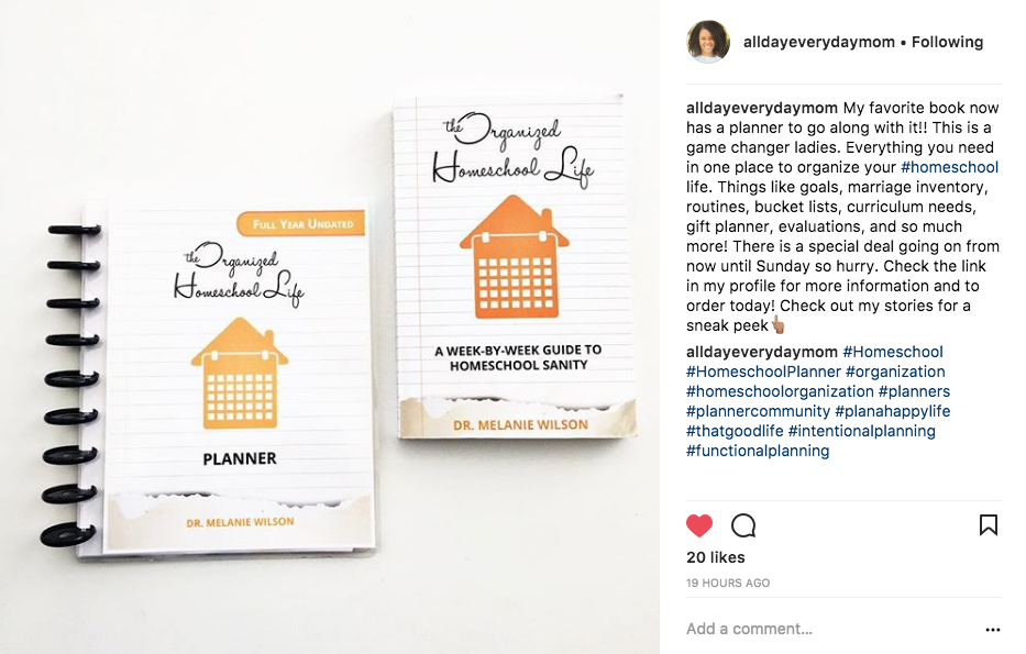 The Organized Homeschool Life Planner Instagram