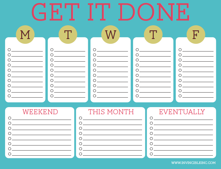 Weekly to do list invincibleinc.com