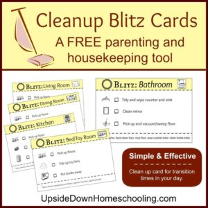 Cleanup Blitz Cards from Upside Down Homeschooling