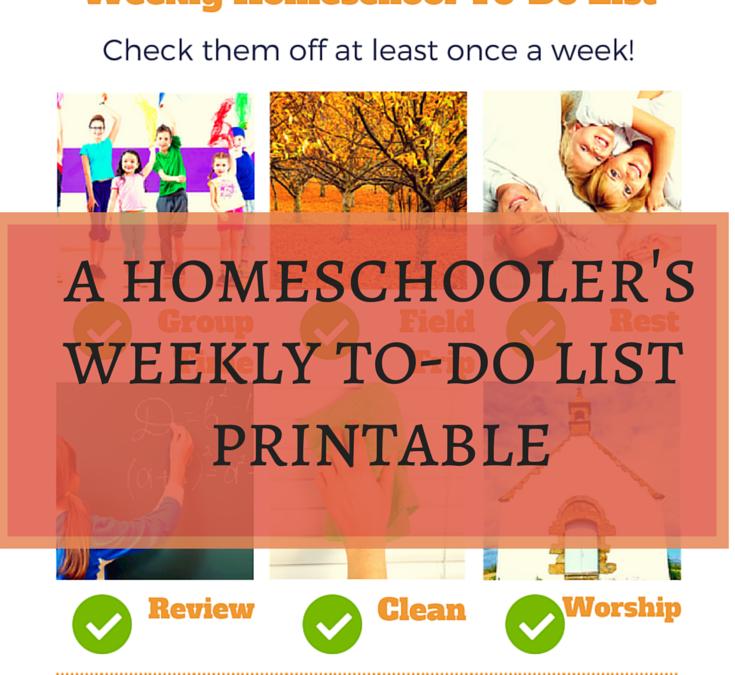 Free Homeschool Weekly To-Do List Printable