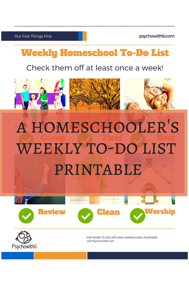 weekly homeschool to do list free printable
